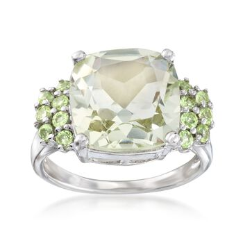 5.00 Carat Green Amethyst and .40 ct. t.w. Peridot Ring in Sterling Silver, , default