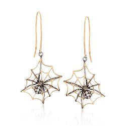 .27 ct. t.w. Diamond Spider Drop Earrings in Two-Tone Sterling Silver , , default