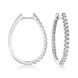 "2.00 ct. t.w. Diamond Oval Hoop Earrings in 14kt White Gold. 1 1/4"", , default"