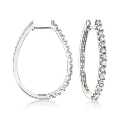 2.00 ct. t.w. Diamond Oval Hoop Earrings in 14kt White Gold, , default