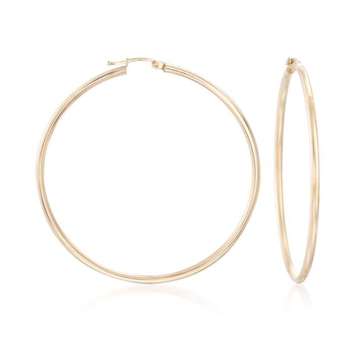 "60mm 14kt Yellow Gold Hoop Earrings. 2 3/8"", , default"