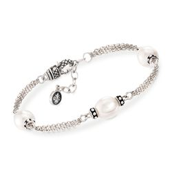 Andrea Candela 9mm Cultured Oval Pearl Station Bracelet in Sterling Silver, , default