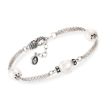 "Andrea Candela 9mm Cultured Oval Pearl Station Bracelet in Sterling Silver. 7"", , default"