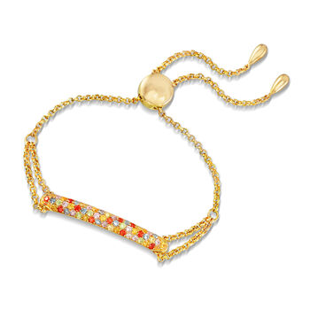"""1.30 ct. t.w. Multicolored CZ Bolo Bracelet in 18kt Gold Over Sterling. 8.5"""""""