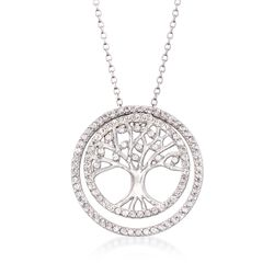 "1.50 ct. t.w. White Synthetic Sapphire Tree of Life Pendant Necklace in Sterling Silver. 16"", , default"