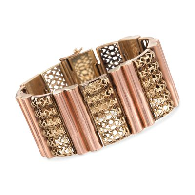 C. 1960 Vintage 18kt Two-Tone Gold Fancy Section Bracelet, , default