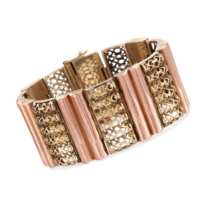 "C. 1960 Vintage 18kt Two-Tone Gold Fancy Section Bracelet. 6.75"", , default"