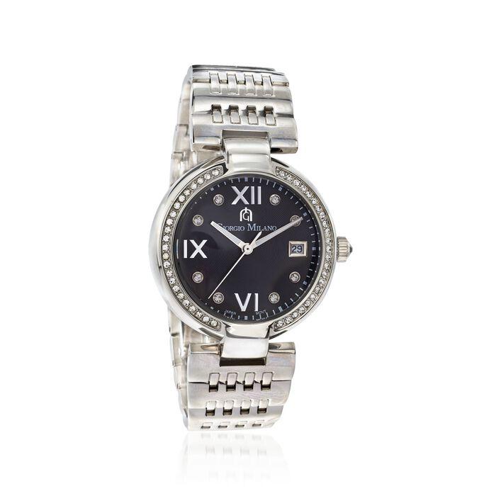Giorgio Milano Women's 35mm Date Window Stainless Steel Watch with Swarovski Crystals. Wfs