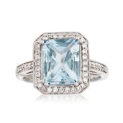 2.90 Carat Aquamarine and .30 ct. t.w. Diamond Ring in 14kt White Gold, , default