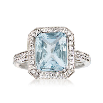2.90 Carat Aquamarine and .30 ct. t.w. Diamond Ring in 14kt White Gold, , default