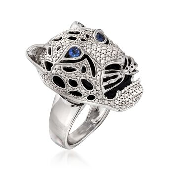 Black Onyx and .10 ct. t.w. Sapphire Panther Head Ring in Sterling Silver, , default