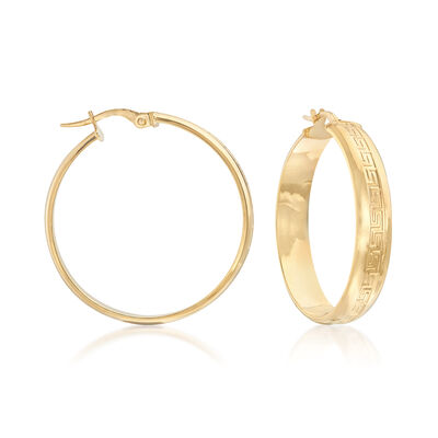 Italian 14kt Yellow Gold Greek Key Hoop Earrings, , default