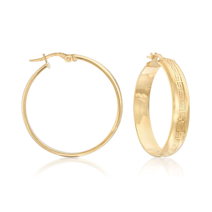"Italian 14kt Yellow Gold Greek Key Hoop Earrings. 1 1/4"", , default"