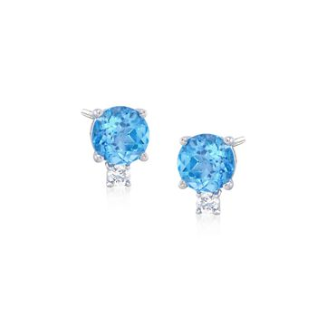 1.70 ct. t.w. Blue Topaz and .10 ct. t.w. Diamond Stud Earrings in 14kt White Gold, , default