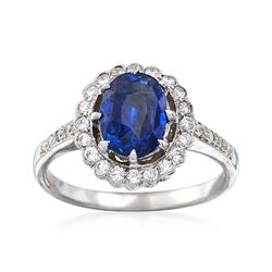 C. 1990 Vintage 1.92 Carat Sapphire and .40 ct. t.w. Diamond Ring in 18kt White Gold. Size 6.5, , default