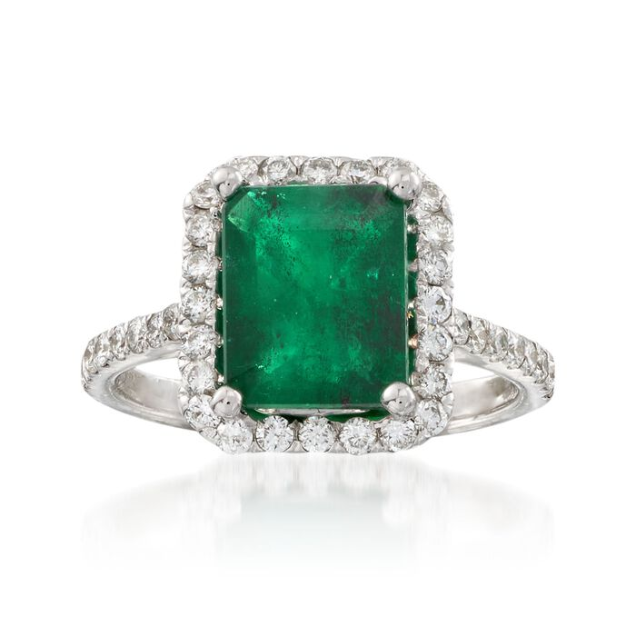 2.90 Carat Emerald and .55 ct. t.w. Diamond Ring in 14kt White Gold, , default