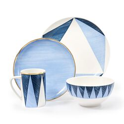 "16-pc. Service for 4 - ""Blue Azzurro"" Porcelain Acuto/Triangoli Dinnerware by Lenox and Luca Andrisani , , default"