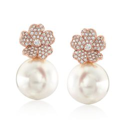 "Mikimoto ""Cherry Blossom"" 11mm A+ South Sea Pearl and .45 ct. t.w. Diamond Floral Earrings in 18kt Rose Gold, , default"