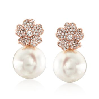 """Mikimoto """"Cherry Blossom"""" 11mm A+ South Sea Pearl and .45 ct. t.w. Diamond Floral Earrings in 18kt Rose Gold , , default"""