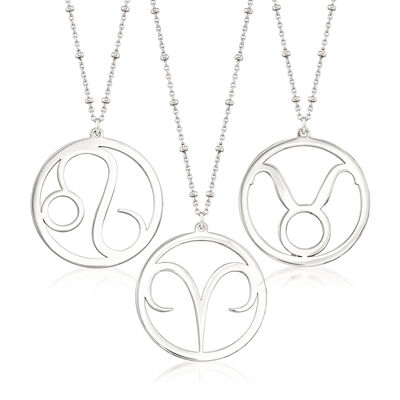 Sterling Silver Zodiac Pendant Station Necklace, , default