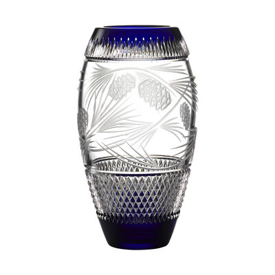 "Waterford Crystal ""Master Craft"" Cobalt Christmas Vase"