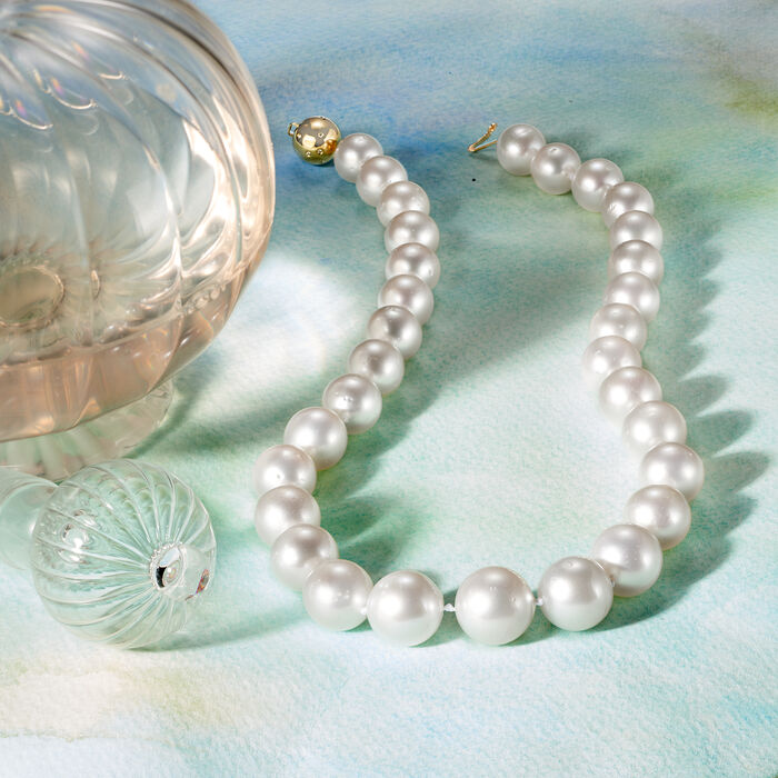 12-15mm Cultured South Sea Pearl Necklace with 14kt Yellow Gold