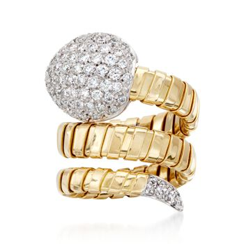 Italian 1.60 ct. t.w. Diamond Snake Ring in 18kt Two-Tone Gold. Size 7, , default