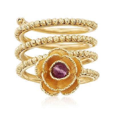 Italian .20 Carat Amethyst Flower Coil Ring in 18kt Yellow Gold, , default