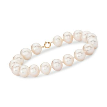 """9.5-10.5mm Cultured Pearl Bracelet With 14kt Yellow Gold. 7.25"""", , default"""