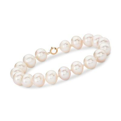 9.5-10.5mm Cultured Pearl Bracelet With 14kt Yellow Gold, , default