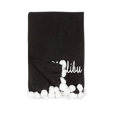 Black and Ivory Pom Pom Throw Blanket, , default
