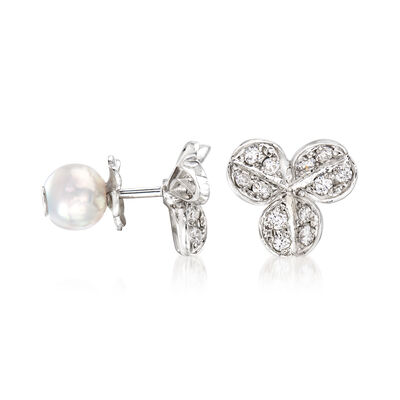 "Mikimoto ""Fortune Leaves"" 5.75mm Akoya Pearl and .28 ct. t.w. Diamond Flower Earrings in 18kt White Gold, , default"