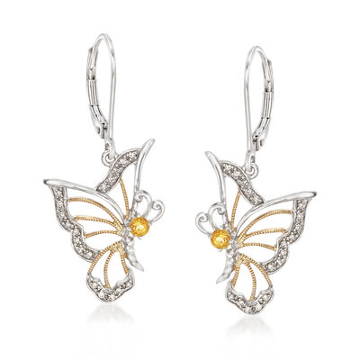.10 ct. t.w. Diamond and .10 ct. t.w. Citrine Butterfly Earrings in Sterling Silver and 14kt Yellow Gold, , default