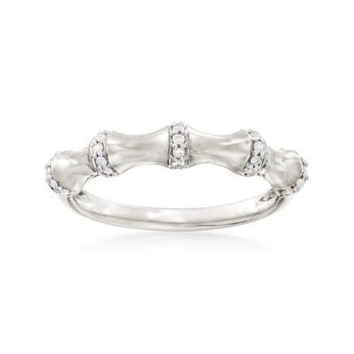 .10 ct. t.w. Diamond Bamboo Ring in Sterling Silver, , default