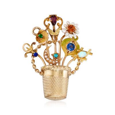 C. 1950 Vintage Multi-Gem Flower Basket Pin in 14kt Yellow Gold, , default