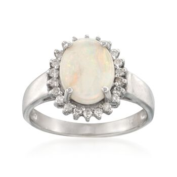 Opal and .22 ct. t.w. Diamond Ring in 14kt White Gold, , default