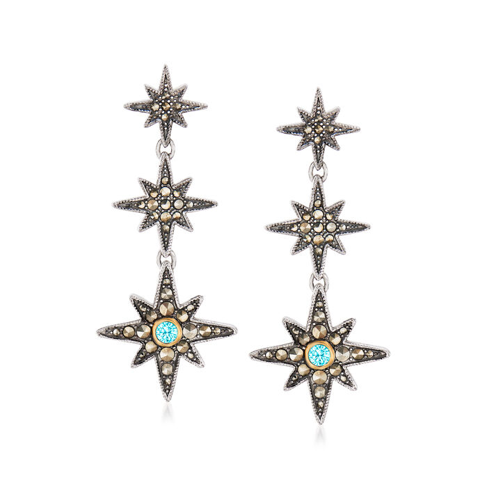 1-1.75mm Marcasite and .30 ct. t.w. Swiss Blue Topaz Star Drop Earrings in Sterling Silver and 14kt Yellow Gold, , default