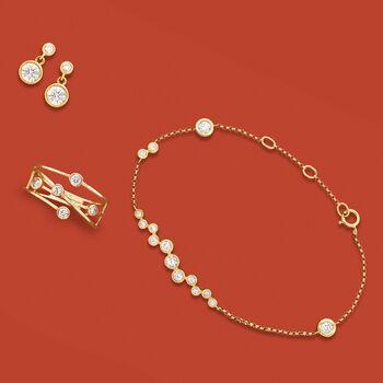 .61 ct. t.w. Bezel-Set Diamond Cluster Bracelet in 14kt Yellow Gold