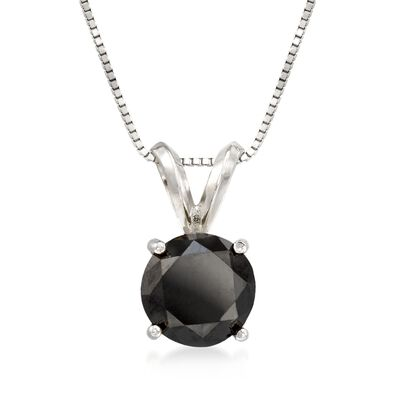 2.00 Carat Black Diamond Solitaire Necklace in 14kt White Gold, , default