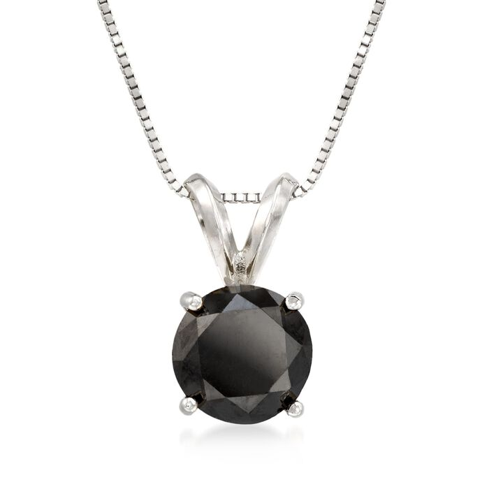 "2.00 Carat Black Diamond Solitaire Necklace in 14kt White Gold. 18"", , default"