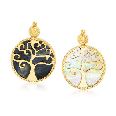 Italian Black and White Mother-Of-Pearl Tree of Life Drop Earrings in 14kt Yellow Gold, , default