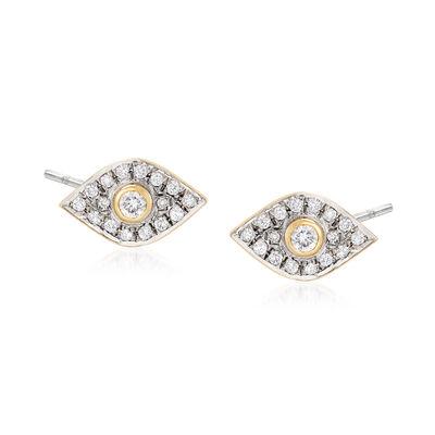 .38 ct. t.w. Diamond Evil Eye Stud Earrings in 18kt Gold Over Sterling