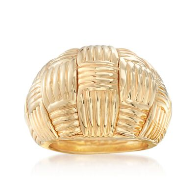 Italian 18kt Yellow Gold Basketweave Dome Ring, , default
