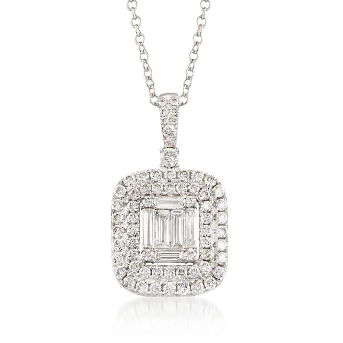 .96 ct. t.w. Diamond Pendant Necklace in 18kt White Gold