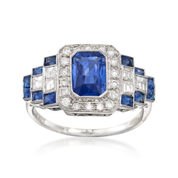 C. 1990 Vintage 1.85 ct. t.w. Sapphire and .65 ct. t.w. Diamond Square Step Ring in 18kt White Gold. Size 6.5, , default