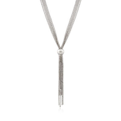 Italian Sterling Silver Bead Chain Tassel Necklace, , default