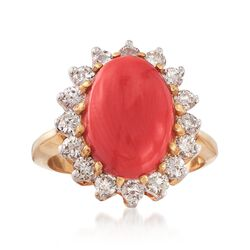 C. 1990 Vintage Red Coral and 1.00 ct. t.w. Diamond Ring in 18kt Yellow Gold. Size 6.5, , default