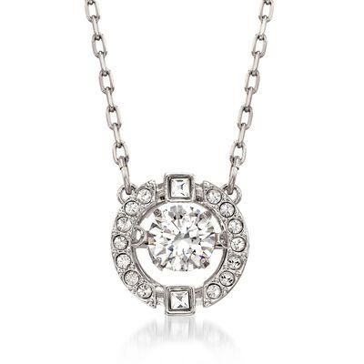 """Swarovski Crystal """"Sparkling Dance"""" Floating Crystal Necklace in Silvertone, , default"""