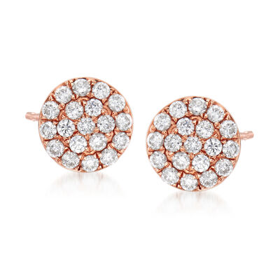 C. 1990 Vintage .47 ct. t.w. Diamond Cluster Earrings in 18kt Rose Gold, , default