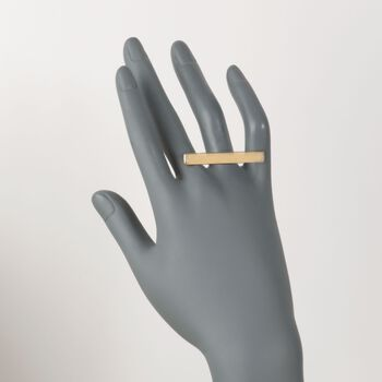 14kt Gold Over Sterling Silver Horizontal Bar Ring with CZ Accents. Size 5